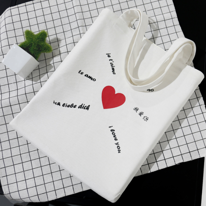 New three-color creative canvas bag Spot Portable shopping one-shoulder green gift bag canvas