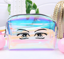 Korean Radium Tpu Cosmetic Bag Transparent Waterproof Printed Travel Bag Environmentally Friendly Fashion Zipper Women's Bag