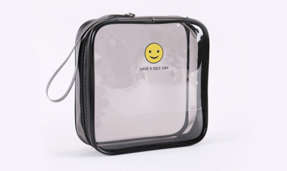 Multifunctional transparent cosmetic bag Square pvc bag zipper Three-dimensional anti-watercolor printing plastic tote bag