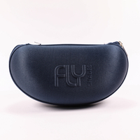 2021 GlASSES CASE SUNGLASSES Are Dark Blue with LOGO Printed on Them. They Are Zippy And Look Like A Fanny Pack