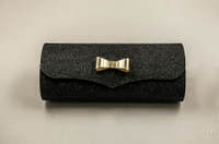 2021 Sunglasses, Black, Cylindrical Appearance, Handmade Glasses Case with Gold Bow Decoration, Fun Design, Delicate, Beautiful
