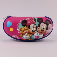 2021 Glass Box Sunglasses with Mickey Mouse Cartoon Print, Zip-chain Type Glasses Case, Very Charming